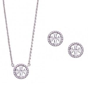 TORY BURCH • Crystal Circle Necklace Earrings Set